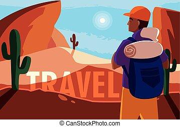 viajante, paisagem deserto