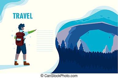 viajante, paisagem, natureza