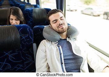 viajante, passeio, cansadas, autocarro