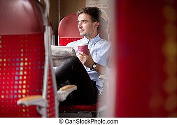 viajante, trem, negócio