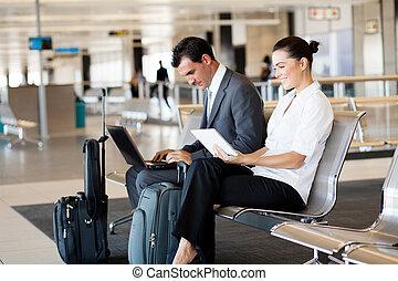 viajantes, aeroporto, negócio