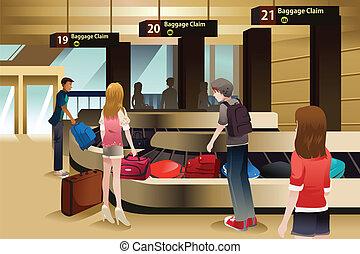 viajantes, esperando, seu, bagagem