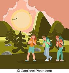viajantes, jovem, hiking