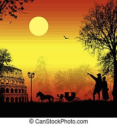 viajantes, par, roma, silueta, pôr do sol