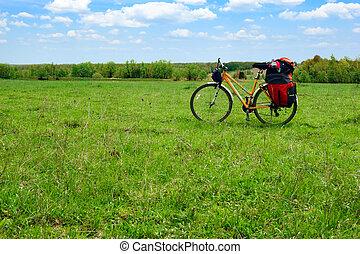 viajar, bicicleta