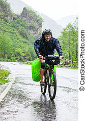 viajar, ciclista, en, pontic, alpes