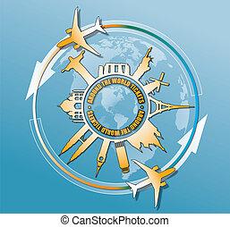 viajar de mundo, alrededor, monumentos