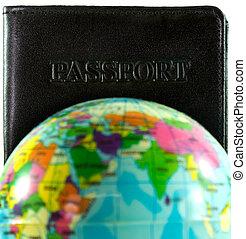 viajar de mundo, concepto, alrededor, pasaporte
