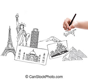 viajar de mundo, dibujo, alrededor