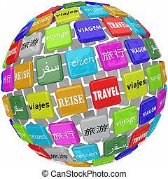 viajar de mundo, palabra, traducción, cultura, idiomas, diferente, global