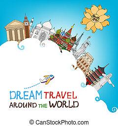 viajar de mundo, sueño, alrededor