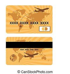 viajar de mundo, tarjeta bancaria, diseño