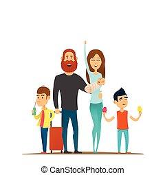 Viajar, familia, feliz