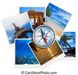 viajar, fotos, collage, con, compás, blanco, plano de fondo