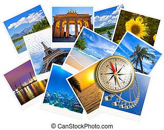viajar, fotos, collage, con, oro, compás, aislado, blanco