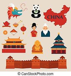 viaje, a, china, vector, iconos, ilustración