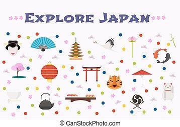 viaje, a, japón, vector, iconos, conjunto, plano de fondo