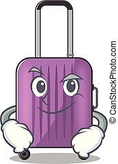 viaje, aislado, maleta, el smirking, caricatura