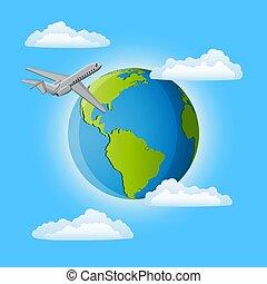 viaje, alrededor, el, world., vector, illustration.
