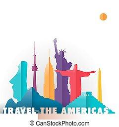 viaje, américas, monumentos