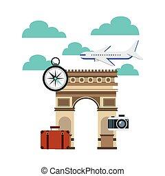 viaje, arco, triunfo, iconos