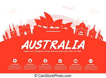 viaje, australia, landmarks.