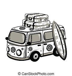 viaje, autobús, retro