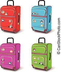 viaje, bag., vector, ilustración, conjunto