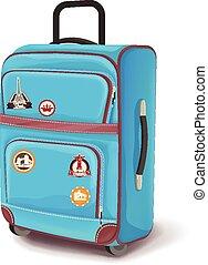 viaje, bag., vector, ilustración