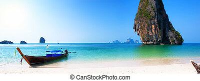 viaje, barco, en, tailandia, isla, playa., tropical, costa,...