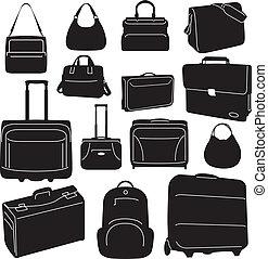 viaje, bolsas, y, maletas, colección