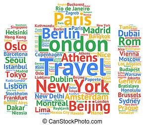 viaje, ciudades, nombres, destinaciones