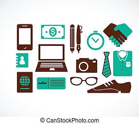 viaje, colección, iconos del negocio