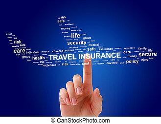 viaje, concept., seguro