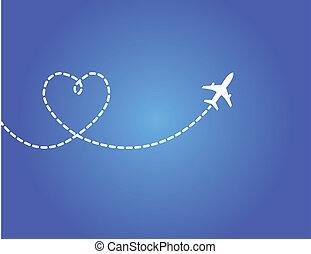 viaje, concepto, amor