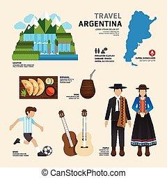 viaje, concepto, argentina, señal, plano, iconos, diseño, .vector, ilustración