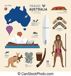 viaje, concepto, australia, señal, plano, iconos, diseño, .vector, illu