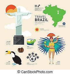viaje, concepto, brasil, señal, plano, iconos, diseño, .vector