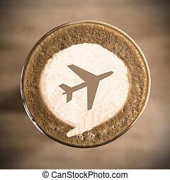 viaje, concepto, en, café, latte, arte, mañana, diario
