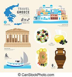 viaje, concepto, grecia, señal, plano, iconos, diseño, .vector, illustr