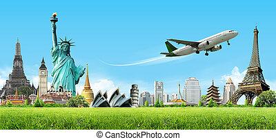 viaje, concepto, mundo