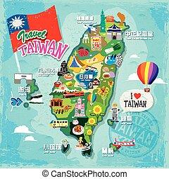 viaje, concepto, taiwán
