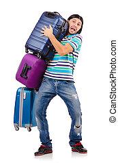 viaje, concepto, vacaciones, blanco, equipaje
