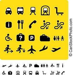 viaje, conjunto, amarillo, icono