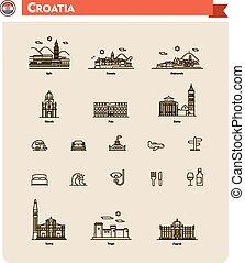 viaje, conjunto, croacia, icono