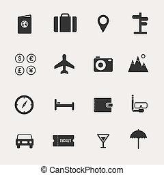 viaje, conjunto, icono