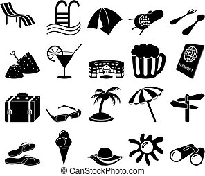 viaje, conjunto, iconos