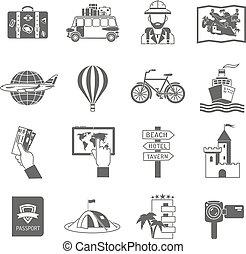 viaje, conjunto, negro, iconos
