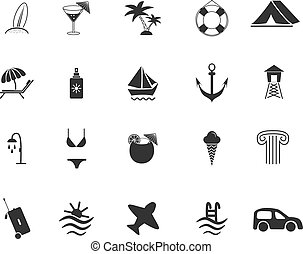viaje, conjunto, playa, iconos
