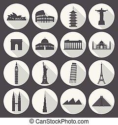 viaje, conjunto, señales, icono